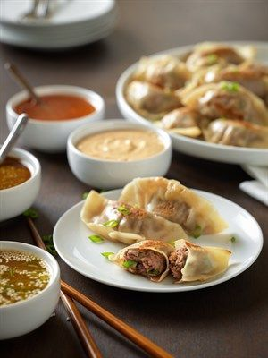 Beef Pot Stickers With Dipping Sauces Recipe Recipes Tailgate Food Food