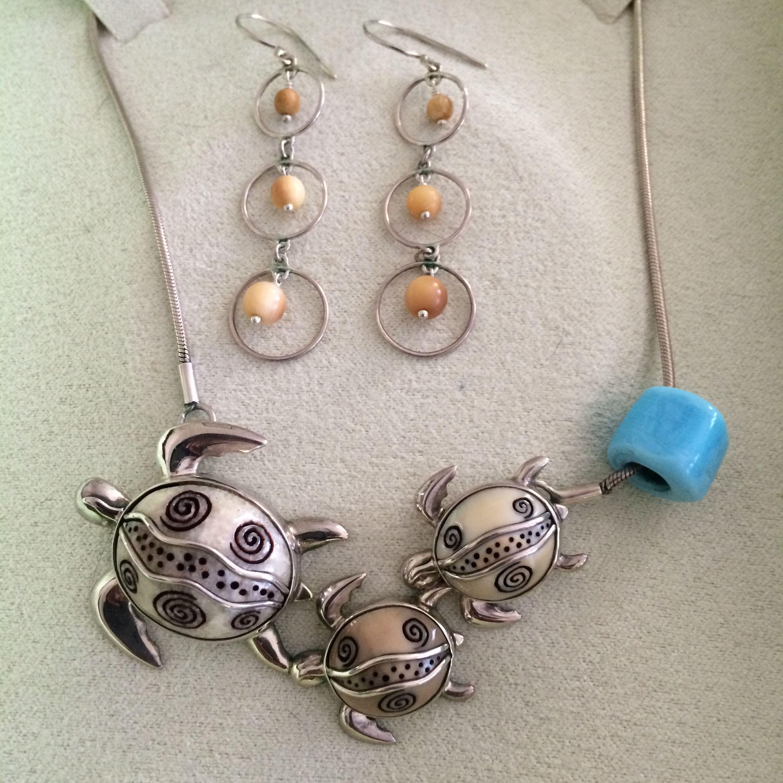 Zealandia Designs - earrings, necklace, w/ added nazar bead.