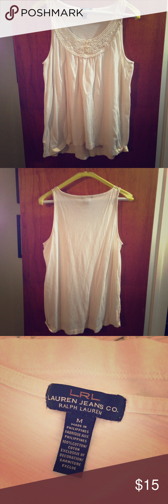 Cream tank top by Ralph Lauren All cotton cream tank top by Lauren Jeans Company by Ralph Lauren. Great with shorts by itself or under a cardigan. Lauren Ralph Lauren Tops Tank Tops