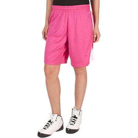 AND1 Women's Contrast Piping Basketball Short 9 inch Inseam, Size: Medium, Pink