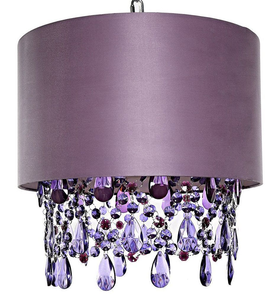 Tracy porter alisal purple hanging lamp wcascading crystals