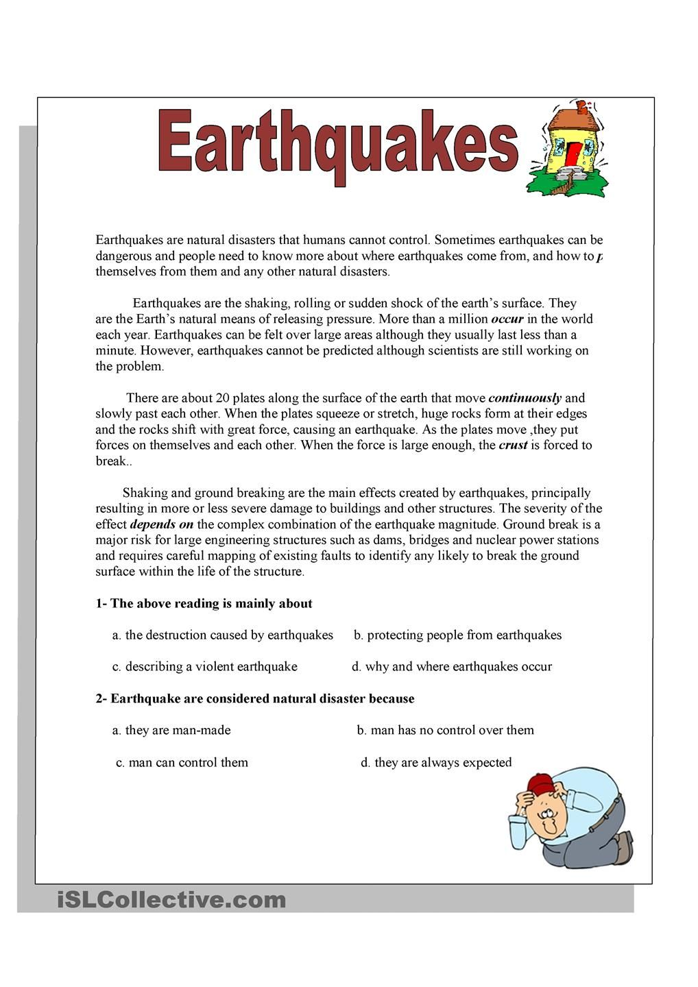 worksheet Earthquake Worksheet Ks2 earthquakes school pinterest english language reading worksheet free esl printable worksheets made by teachers