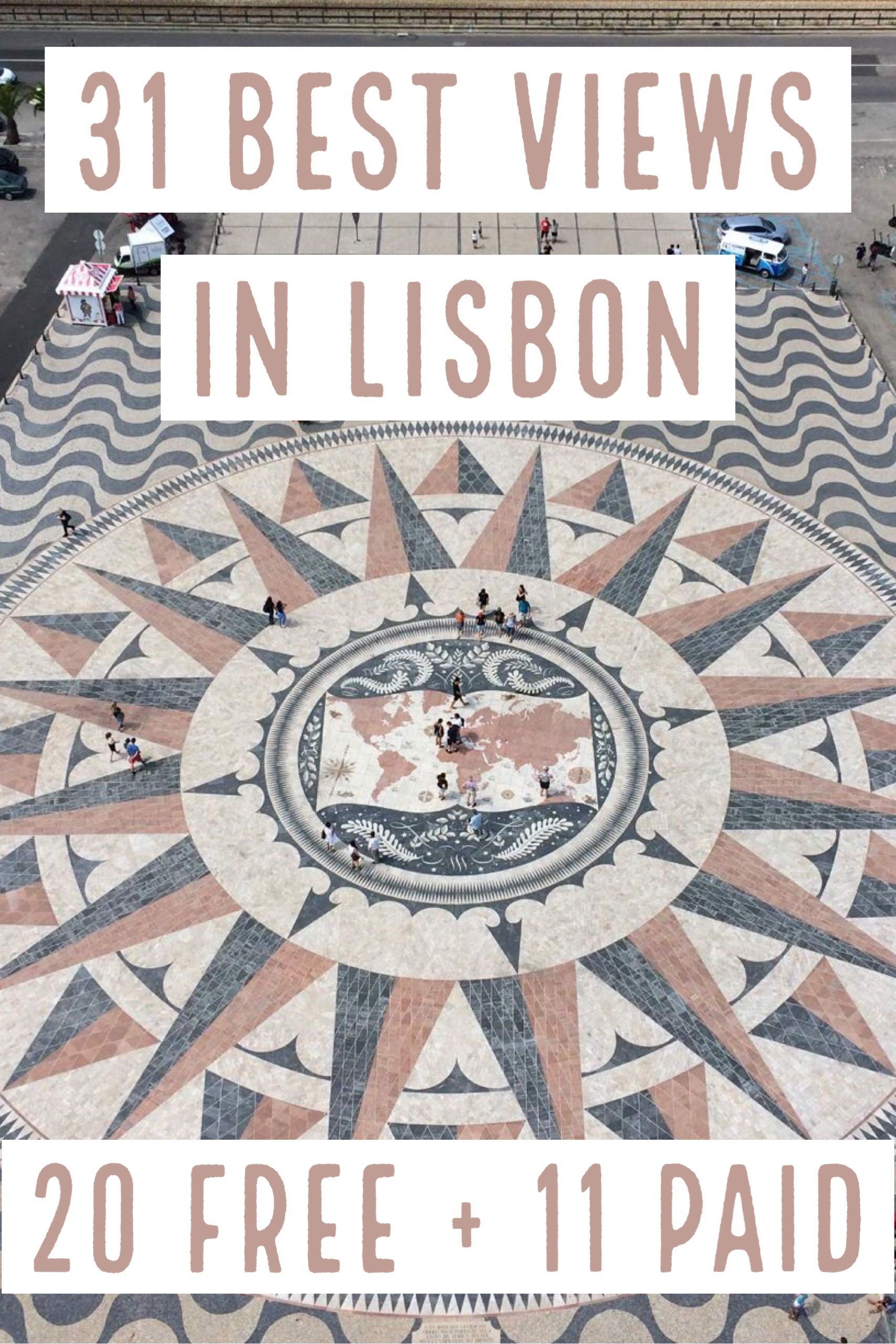 Read about the 31 best views in Lisbon (free and paid), what's cool about them, and how to reach by public transportation. Includes a handy map with all the viewpoints mentioned here. #Lisbon #Portugal @tripprblog