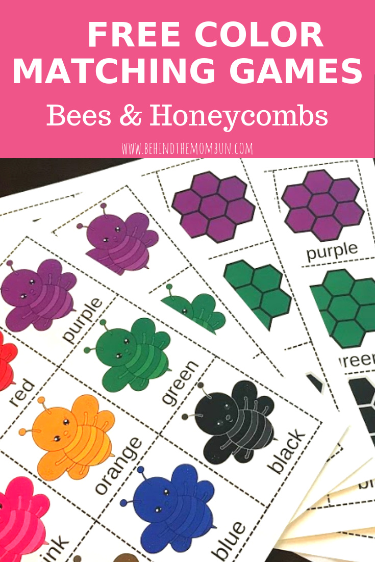 Color Matching Games Bees And Honeycombs Behind The Mom Bun Preschool Color Activities Free Preschool Printables Matching Games For Toddlers
