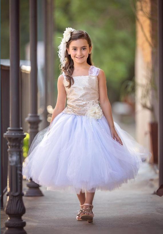 082617e87 Gold Dress White Dress Flower Girl Dress Sequin #clothing #children #girl  @EtsyMktgTool #flowergirldress #goldsequindress #tulledress