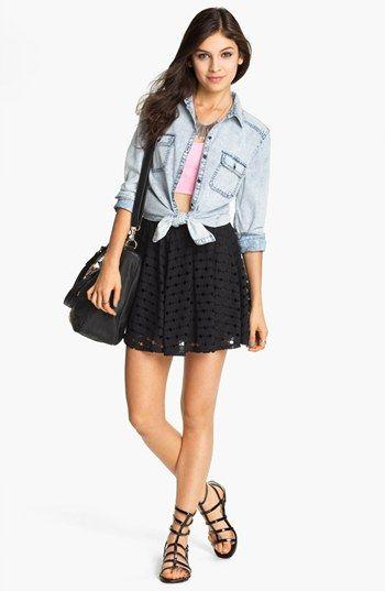 a28dec2f8005 BP. Acid Wash Chambray Shirt & h.i.p. Skater Skirt | Nordstrom ...