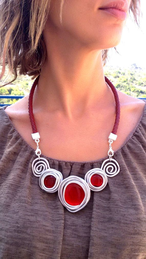 red genuine leather statement handmade necklace silver wrapped red stones silver beads, gift for her, party cocktail wedding evening necklac