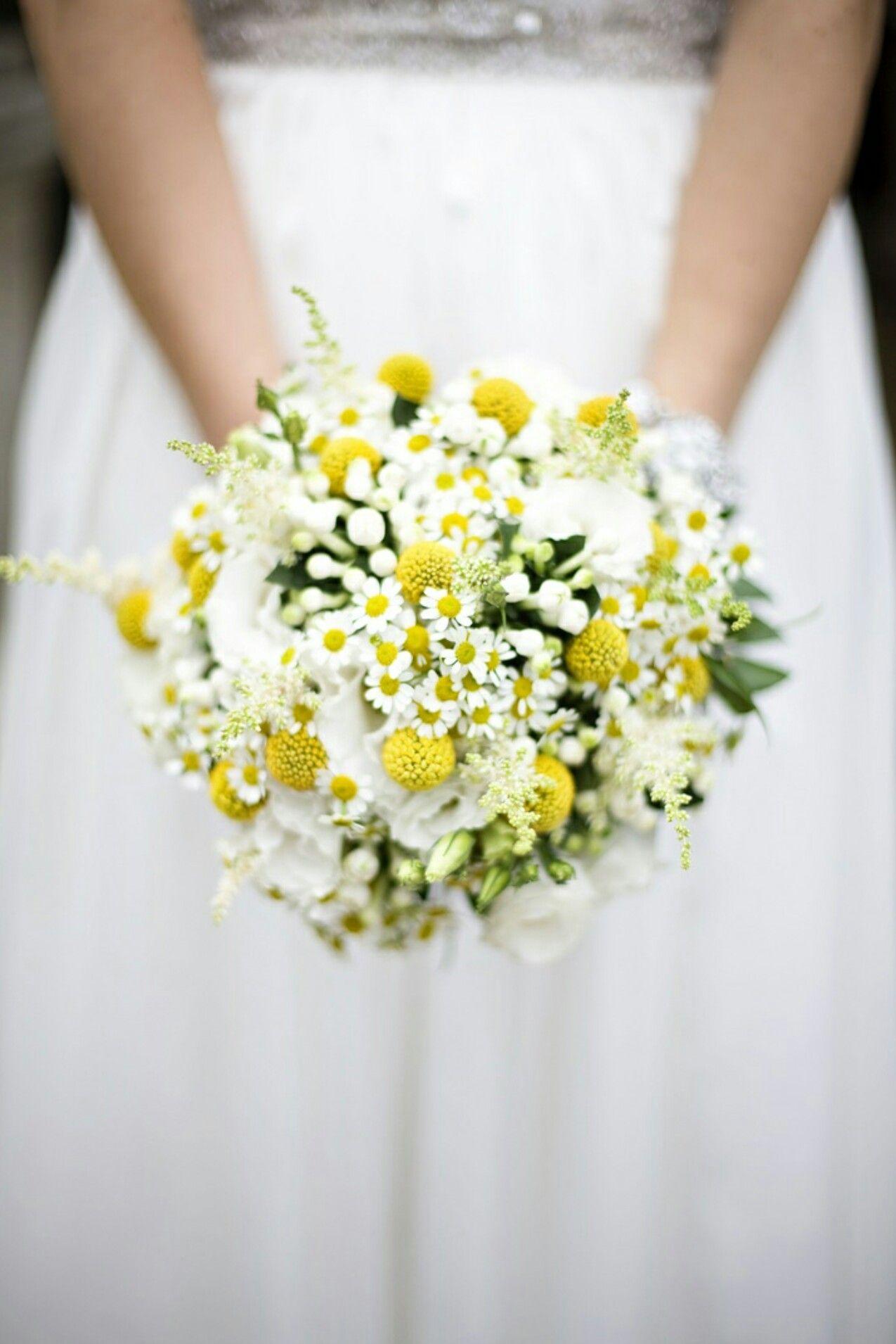 Round Bridal Bouquet White Lisianthus White Astilbe White Bouvardia White Yellow Chamomile Y Yellow Wedding Flowers Yellow Bouquets White Wedding Flowers