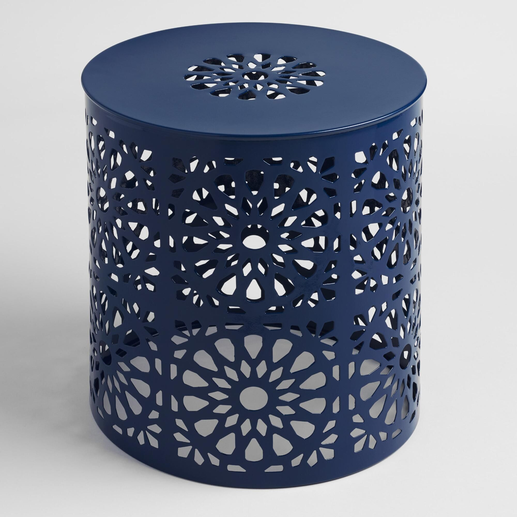Peacoat Blue Punched Metal Soleil Drum Stool Blue Patio