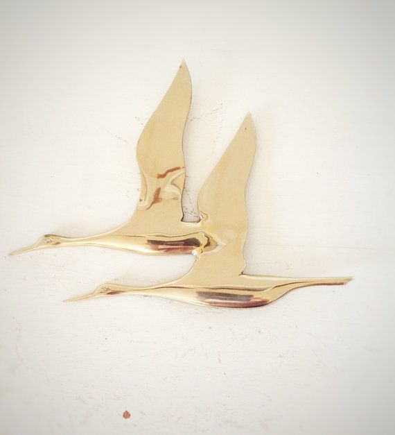Mid Century Brass Geese|Mid Century Geese Wall Hanging|Hollywood ...
