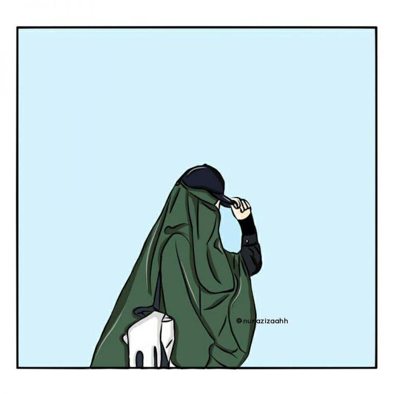 Gambar Kartun Muslimah Bercadar Bertopi Kartun Ilustrasi Karakter Menggambar Wajah