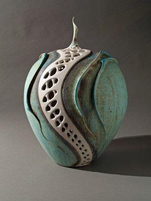 Large pierced lidded porcelain pot Clare Wakefield Ceramics
