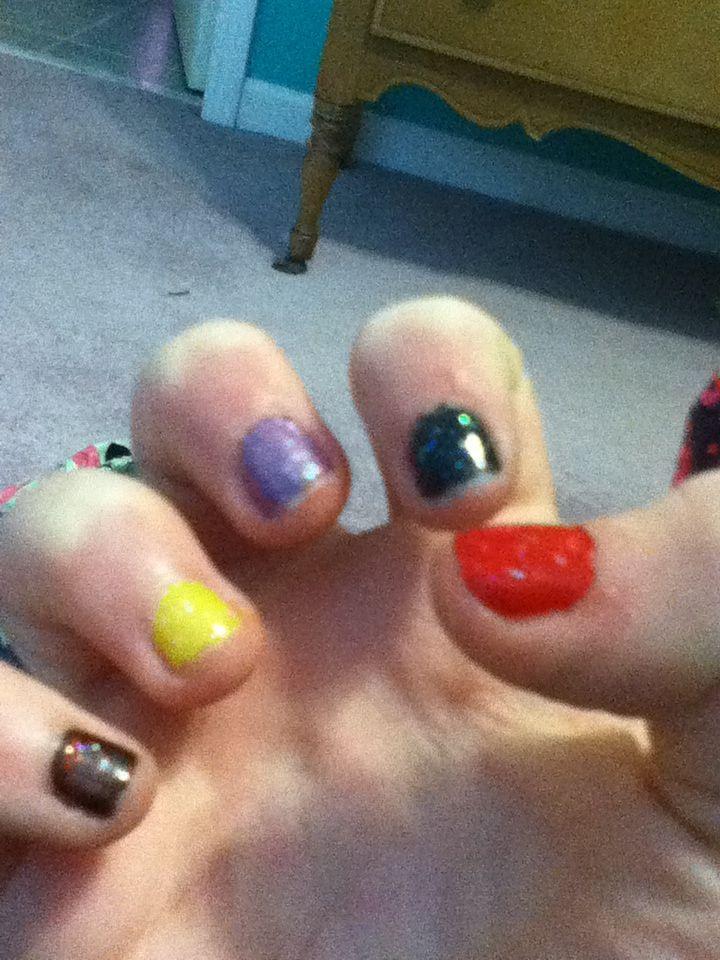 Plain colored sparkle nails