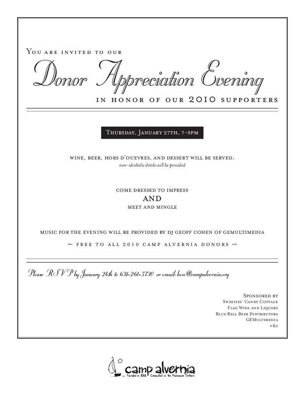Donor Appreciation Invitation  Invitations