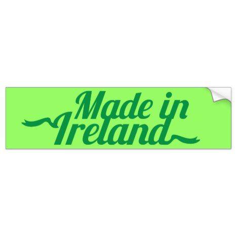 Made in ireland st patricks day design bumper sticker stpatricksday bumper stickers