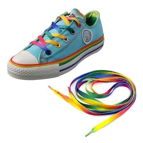 2PCS Rainbow Multi-Color Flat Shoe Laces Shoelaces Strings for Unisex Sneaker ^