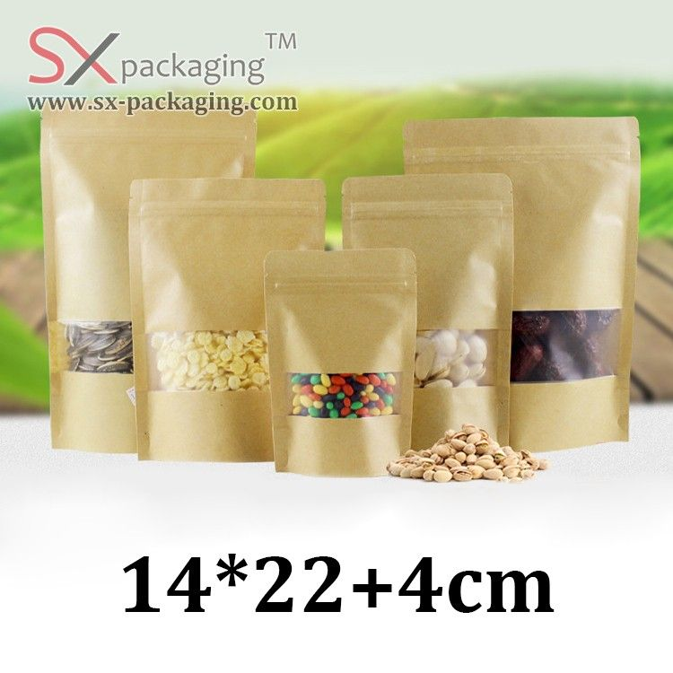 14cm * 22cm frosted transparent plastic window resealable zip lock rice brown kraft paper stand up pouch bags with window
