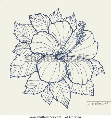 Hawaii Hibiscus Flower Leaf Aloha Hawaii Vector Hibiscus Flower Floral Artwork Summer Bohemia Concep Flower Outline Tattoo Hibiscus Drawing Flower Outline