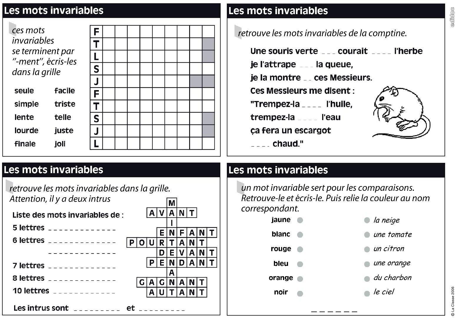 Des exercices pour travailler les mots invariables en CE1. | cp ce1 ce2 | Pinterest | Sons and ...