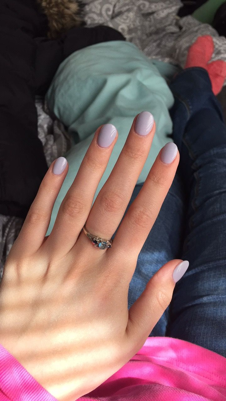 Short lavender acrylic nails. This shape while short looks nice on ...