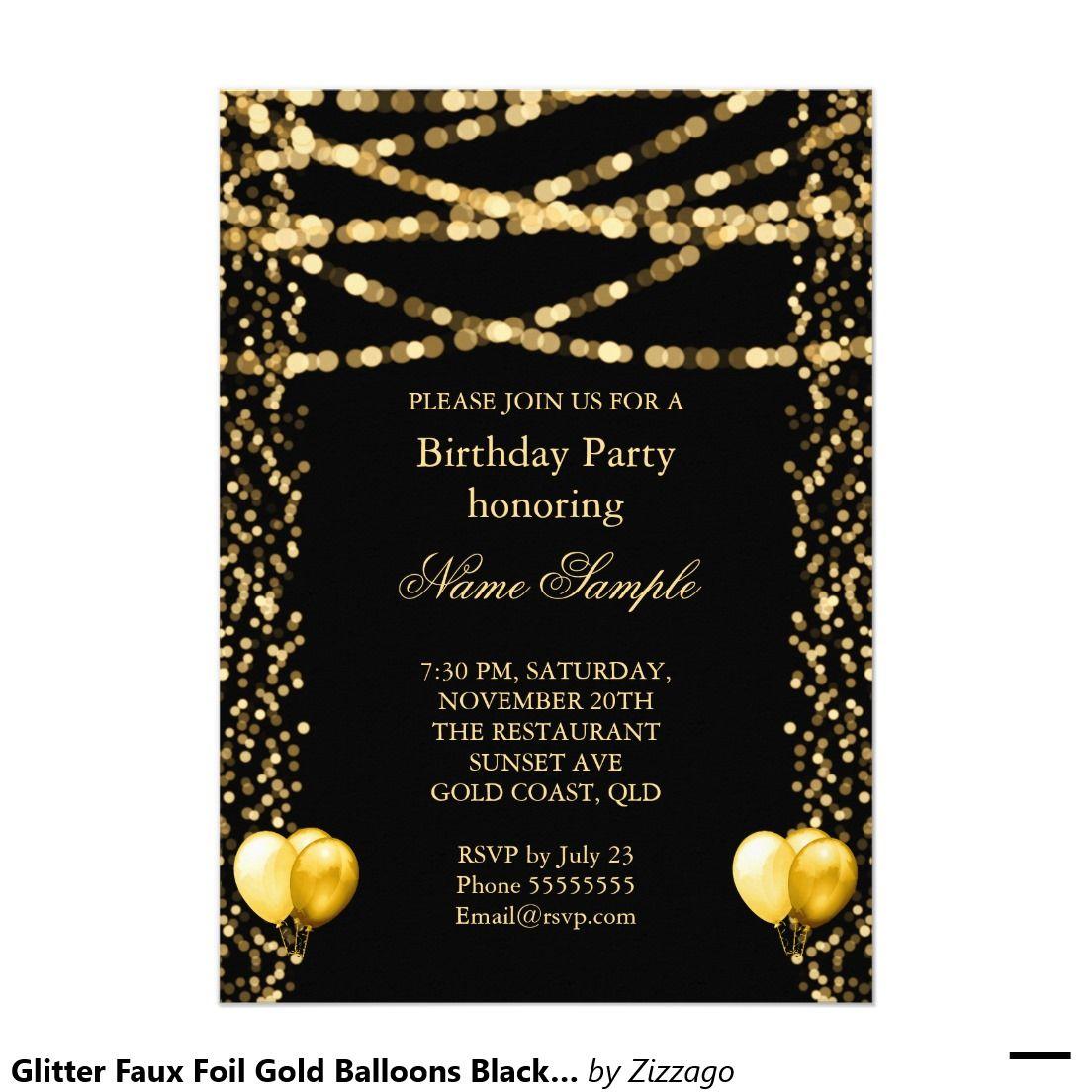 glitter faux foil gold balloons black