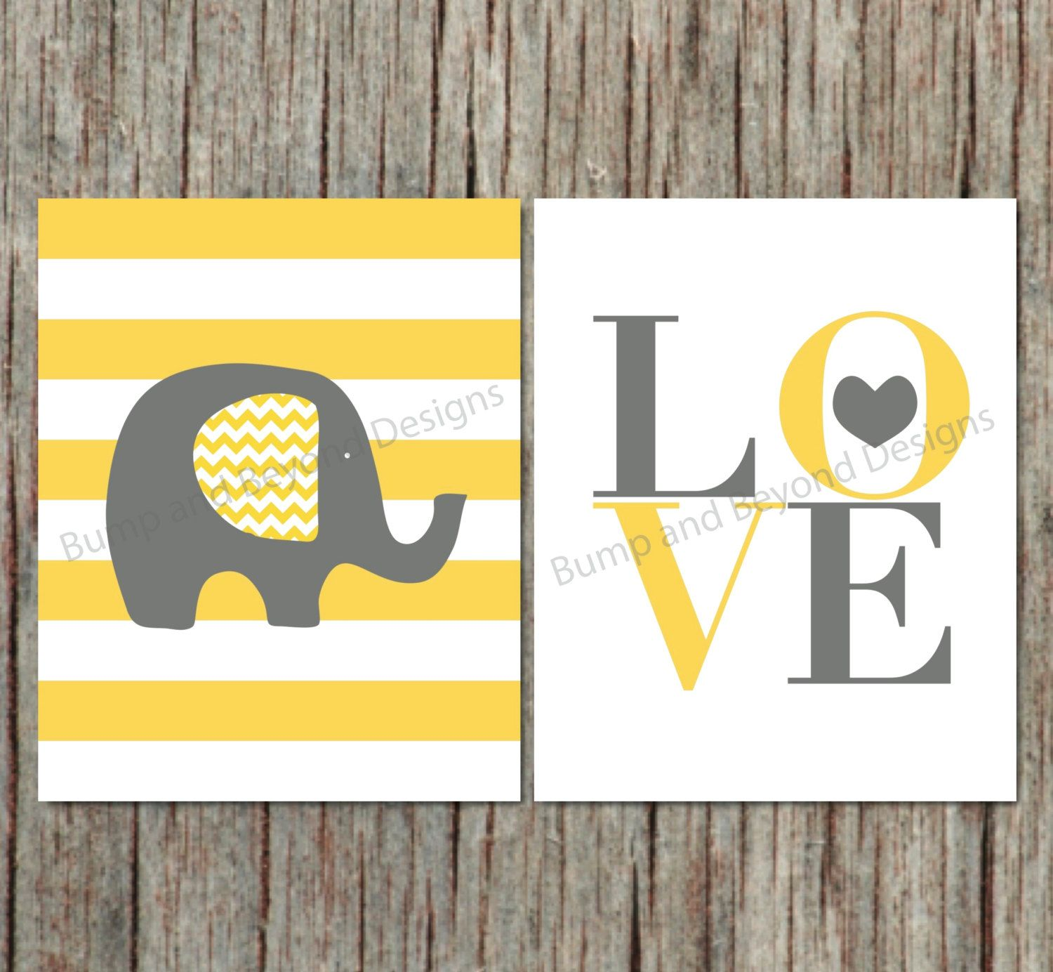Elephant Wall Decor Nursery Wall Art Yellow Grey Printable Instant ...