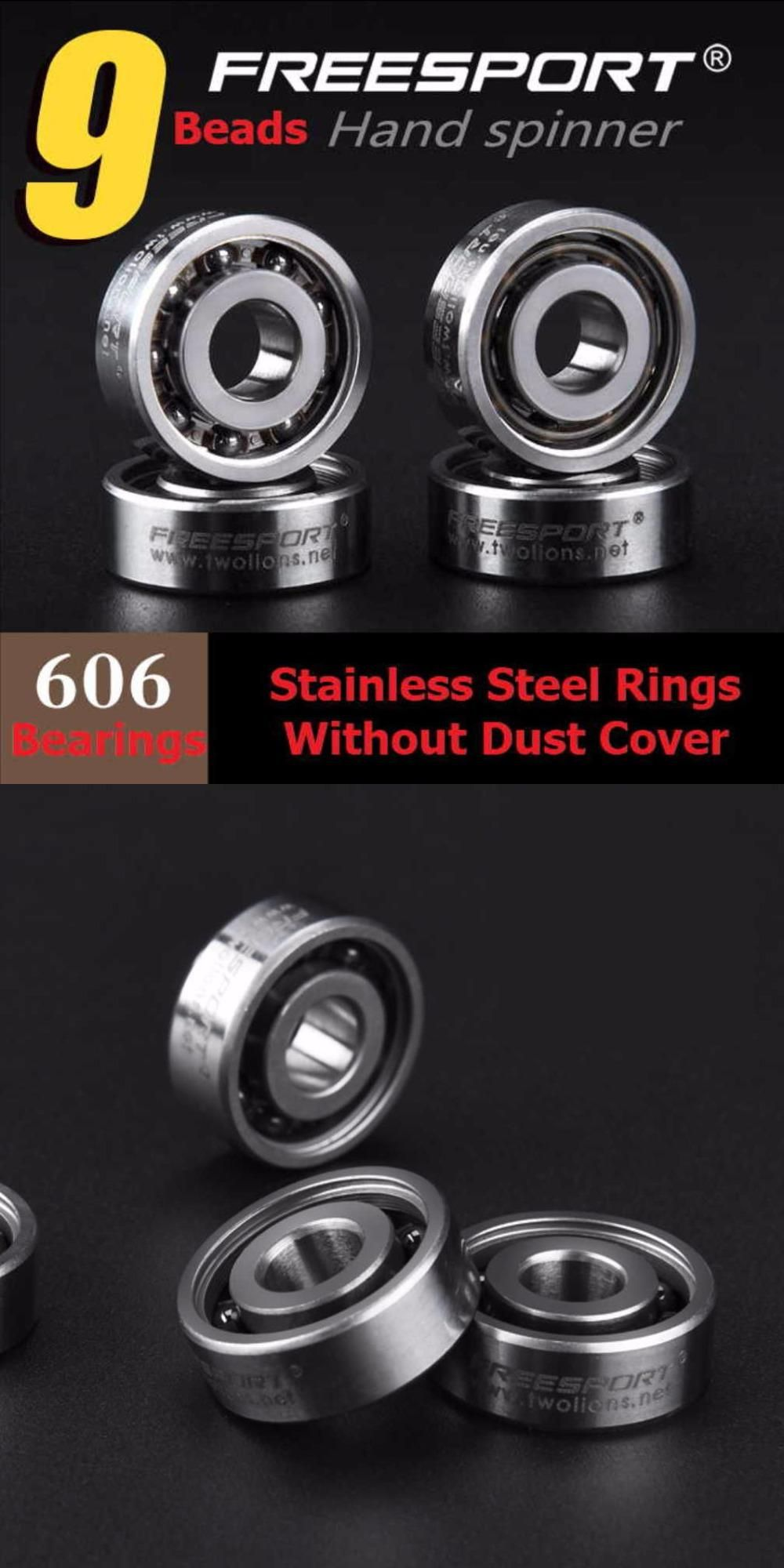 Visit To Buy 1 Piece Freesport 606 Stainless Steel 9 Beads Hybrid Ceramic Bearing Without Dust Cover For Fidget Hand Spinner Rings For Men Hand Spinner Rings