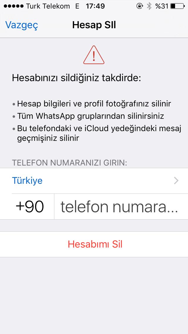 Whatsapp Hesap Silme Tamamen Kapatma 2020 Teknoloji