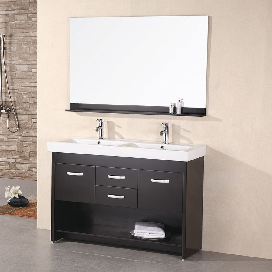 Design Element Citrus Espresso Integrated Double Sink Bathroom Vanity With Solid Surface Top Common 48 In X 18 Act
