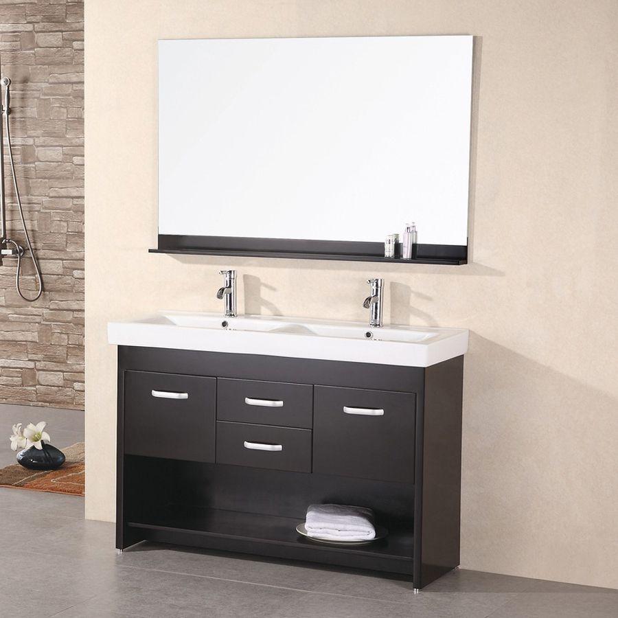Design Element Citrus Espresso Integral Double Sink Oak Bathroom