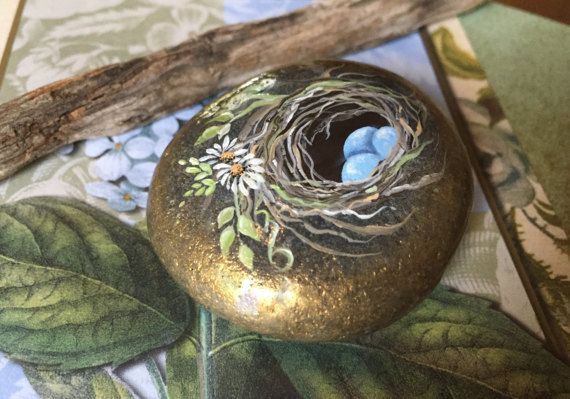 Hand Painted Rock, Painted Bird Nest, Rock Art, Paperweight, Painted Blue Eggs #rockpainting