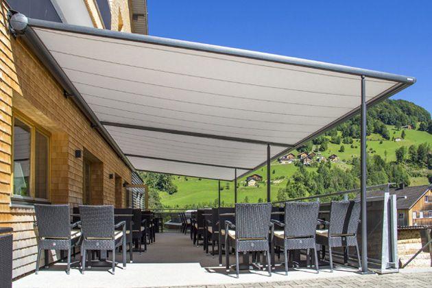 Three Coupled Markilux Pergola 110 Canopies shade large
