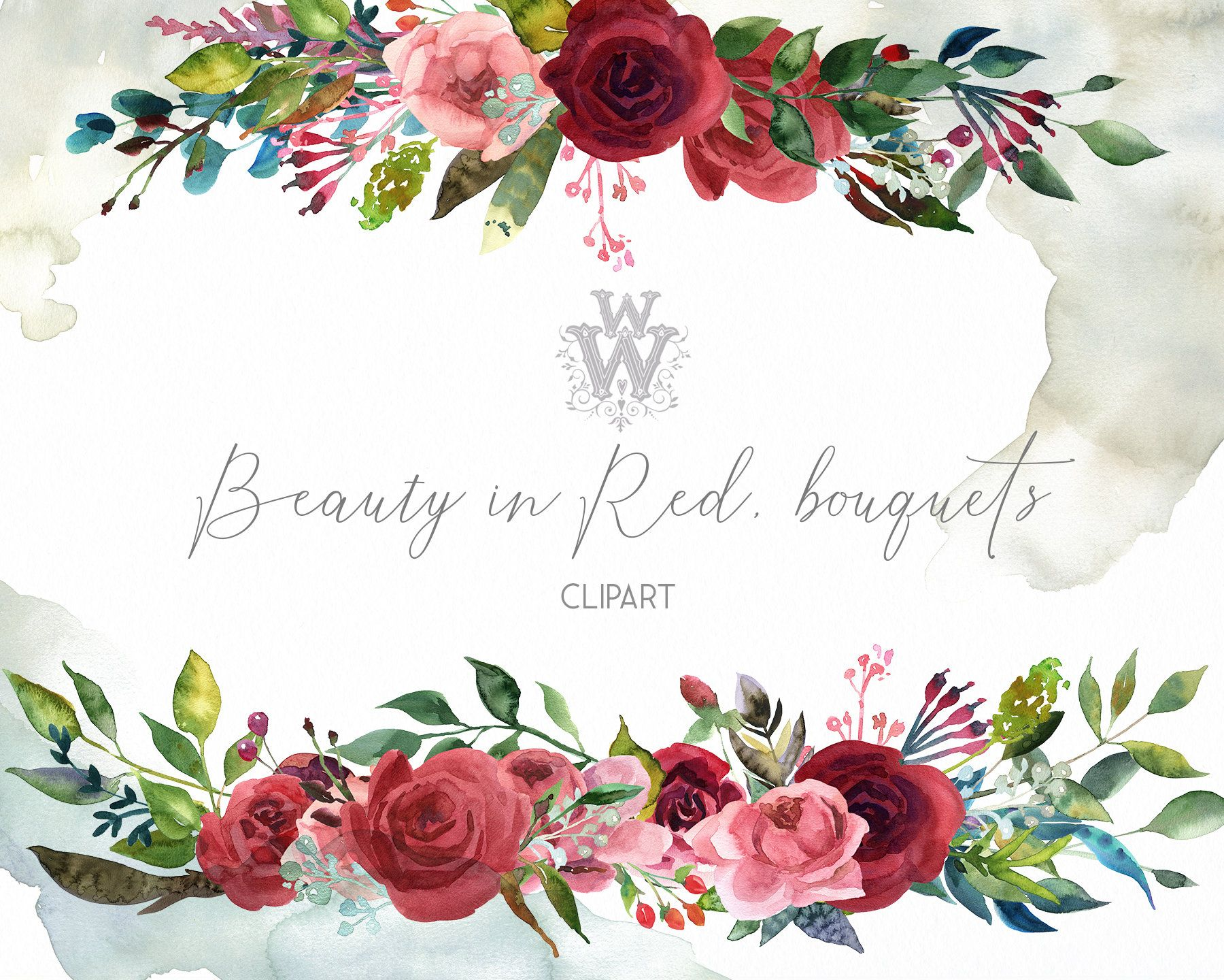Red Rose Watercolor Wedding Clipart Marsala Floral Bouquet