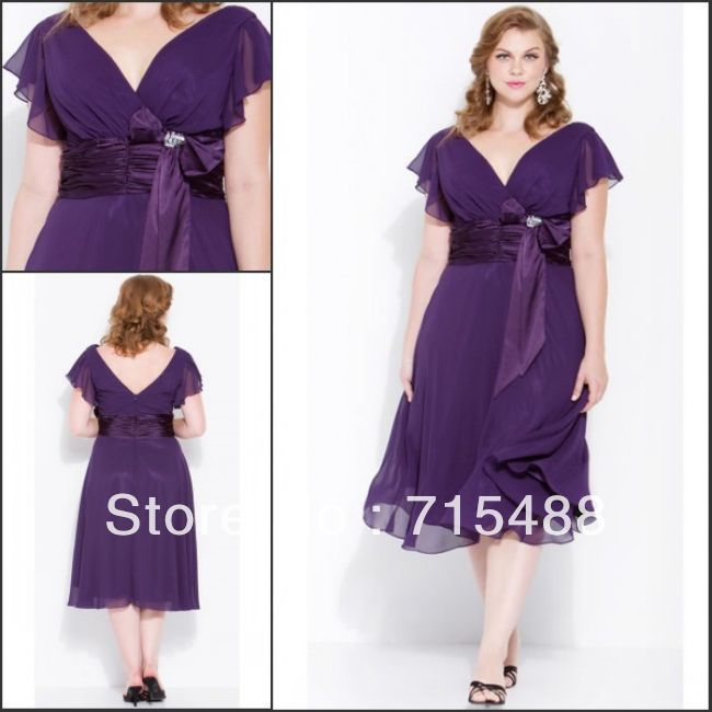Plus Size 2013 Short Chiffon V-neck Short Cap Sleeve Eggplant ...