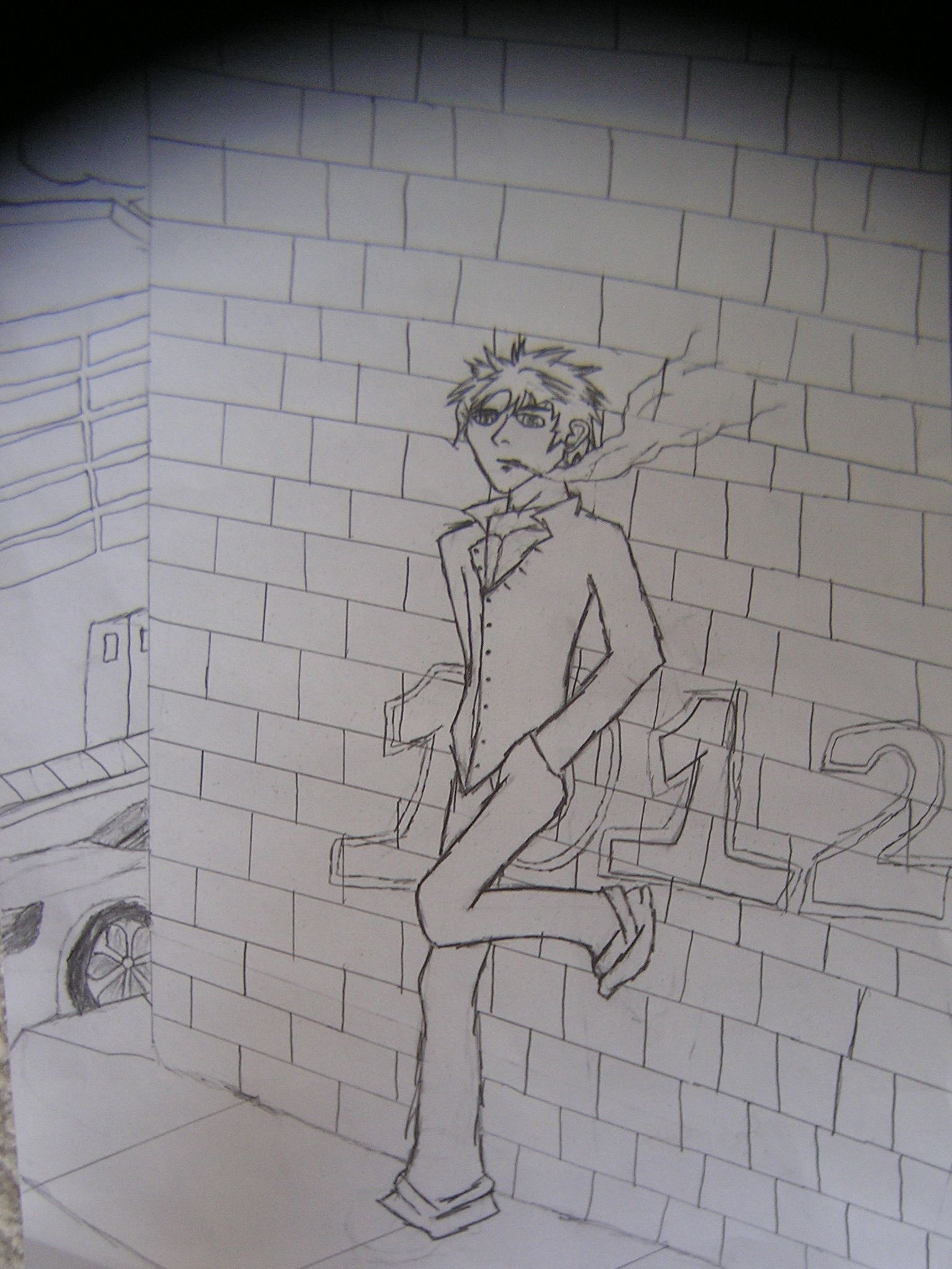Guy Leaning Up Against A Wall Wall Drawing Drawings Wall