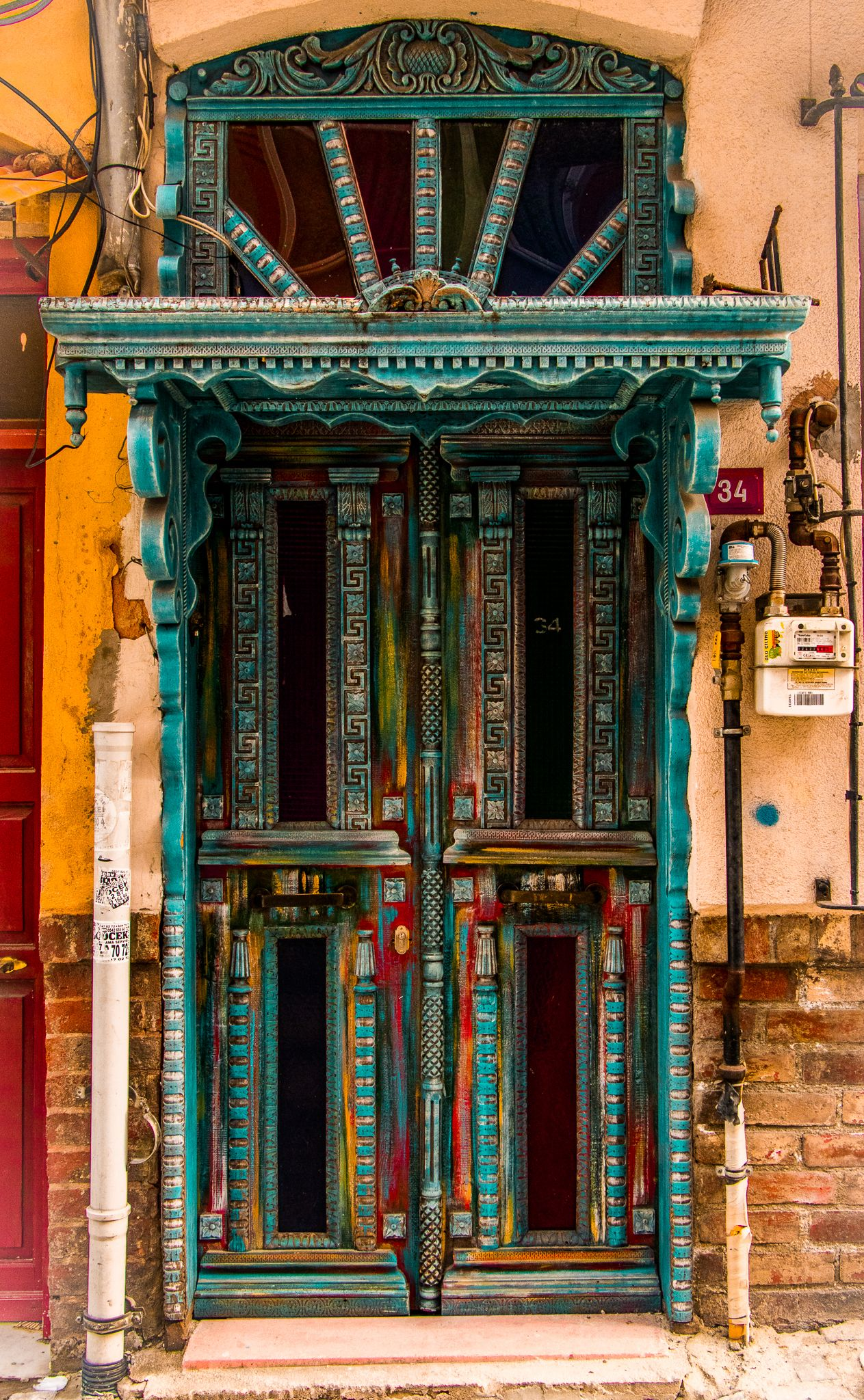 Ornate And Colourful Wooden Door