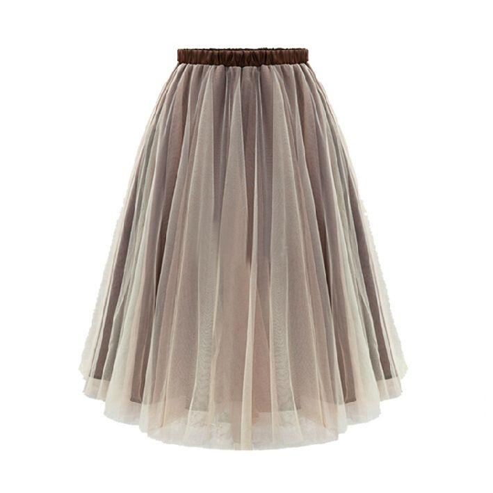 97a780b82d Plissada Saias Femininas mulheres de rua roupas Sheer rosa pálido de malha  cintura elástica saia de Midi 0344 em Saias de Roupas e Acessórios no ...