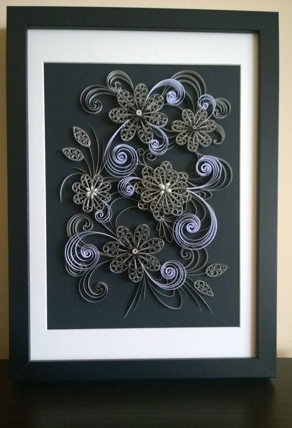 Black and white quilling paper flowers art by treasuresoftheeast
