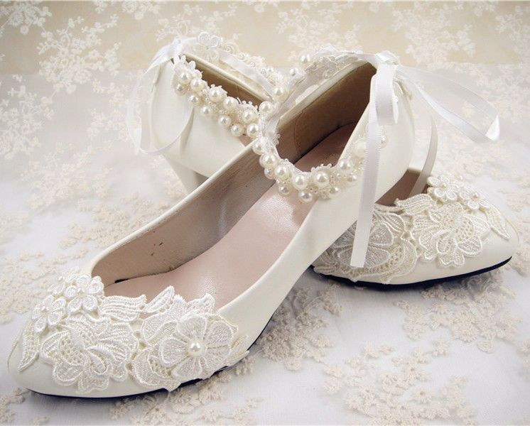 f2a2772e64d96d Handmade Off White Lace Bridal Shoes Flat Ankle Strap Wedding Shoes UK3-6.5