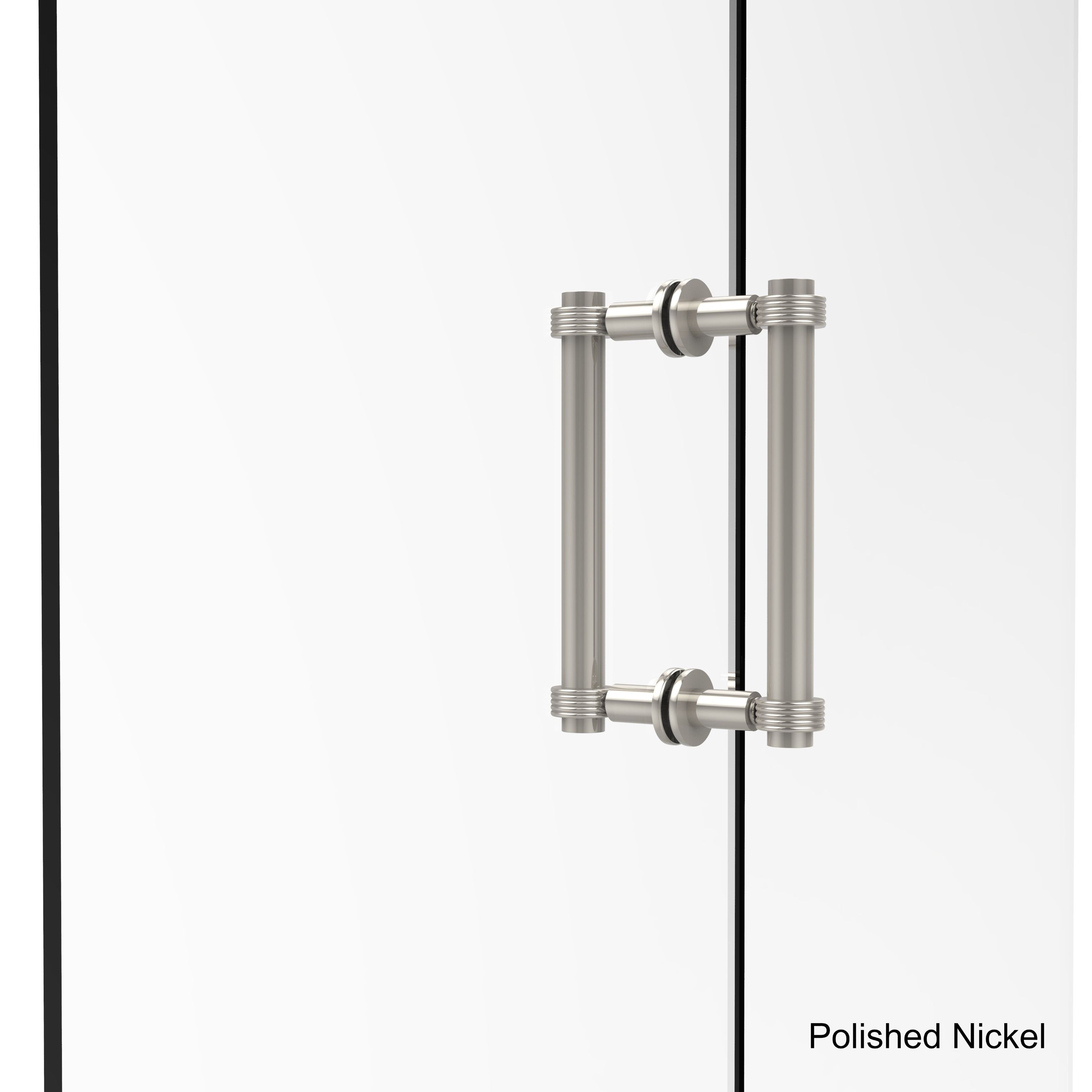 Allied Brass Contemporary 8-inch Back-to-back Grooved Accent Shower Door Pull (Polished Nickel)