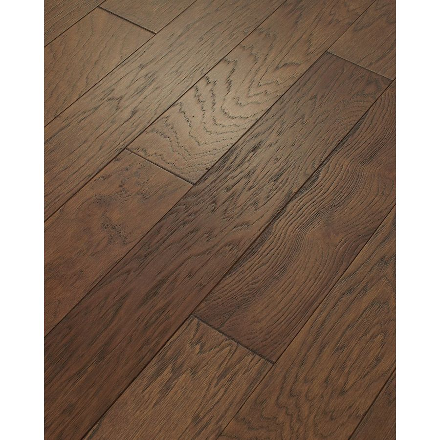 Style selections 5 in prefinished mocha wirebrushed for Prefinished solid hardwood flooring