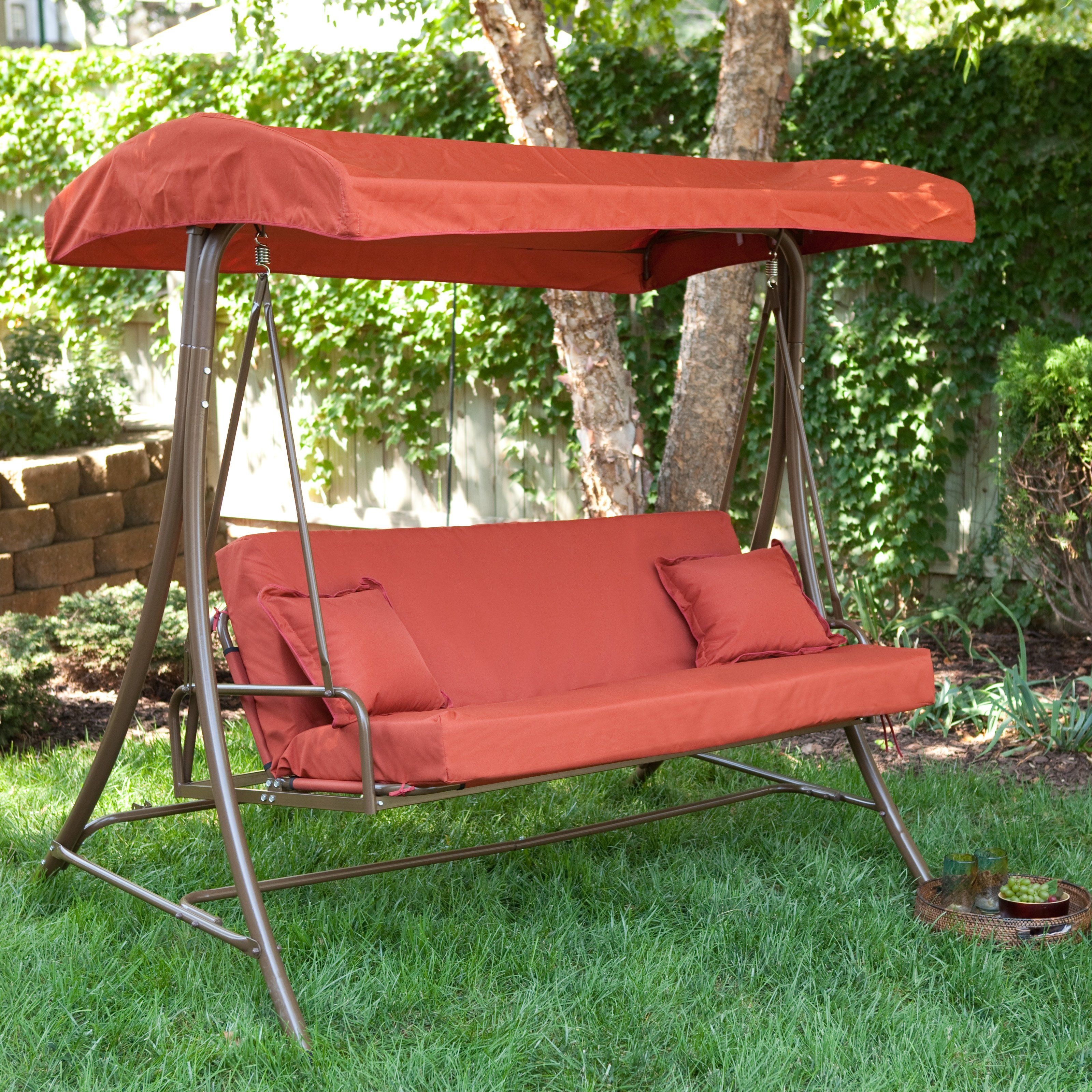Have to have it Siesta 3 Person Canopy Swing Bed Terra Cotta