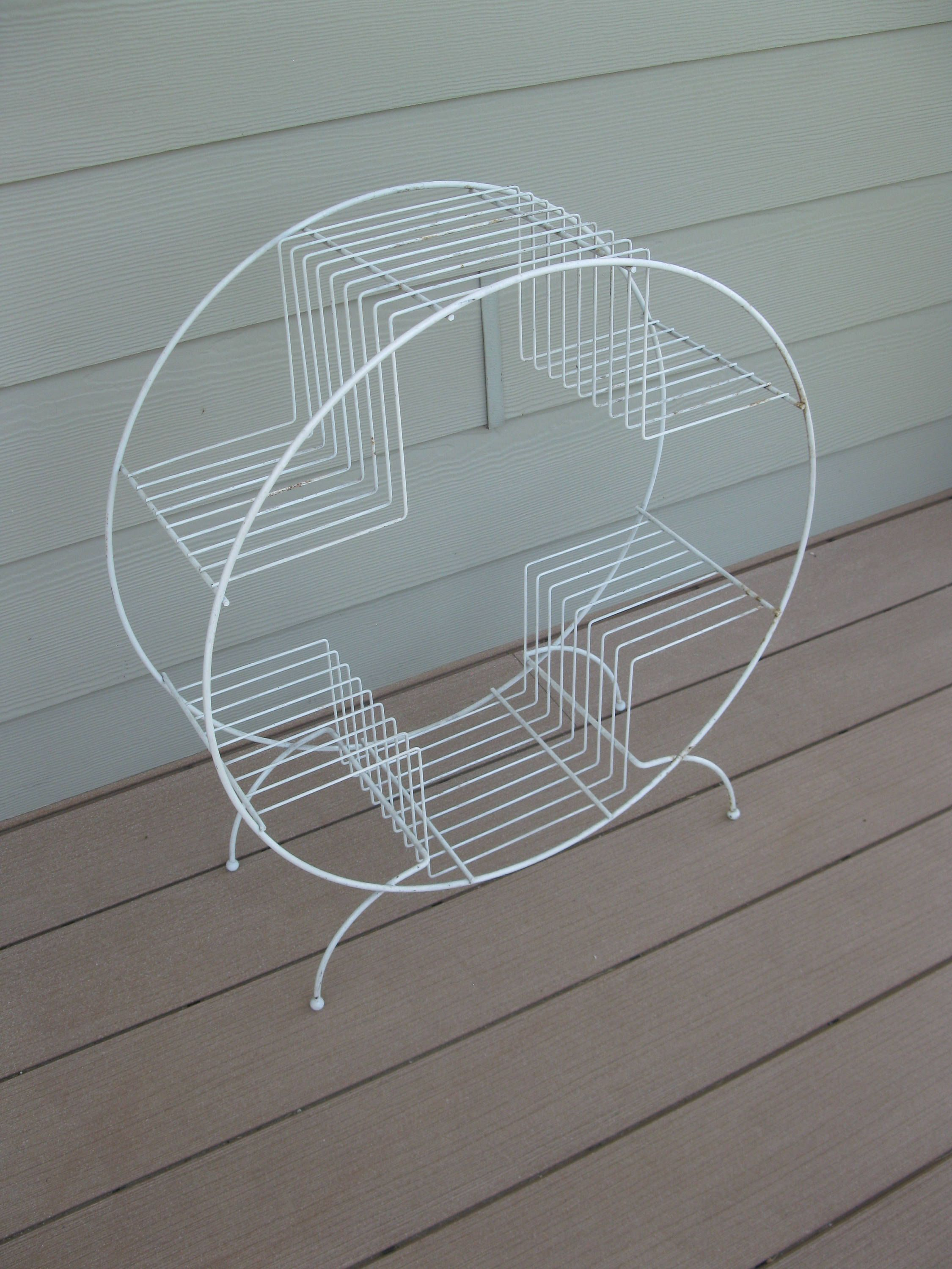 Mid Century Plant Stand- White Metal- Modern- Oval- Round Stand ...