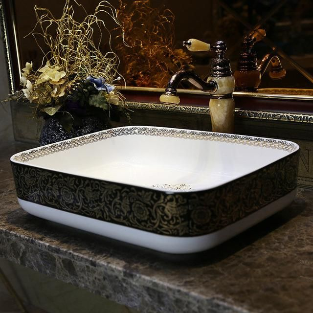 Square Europe Vintage Style Art Chinese Countertop Basin Sink