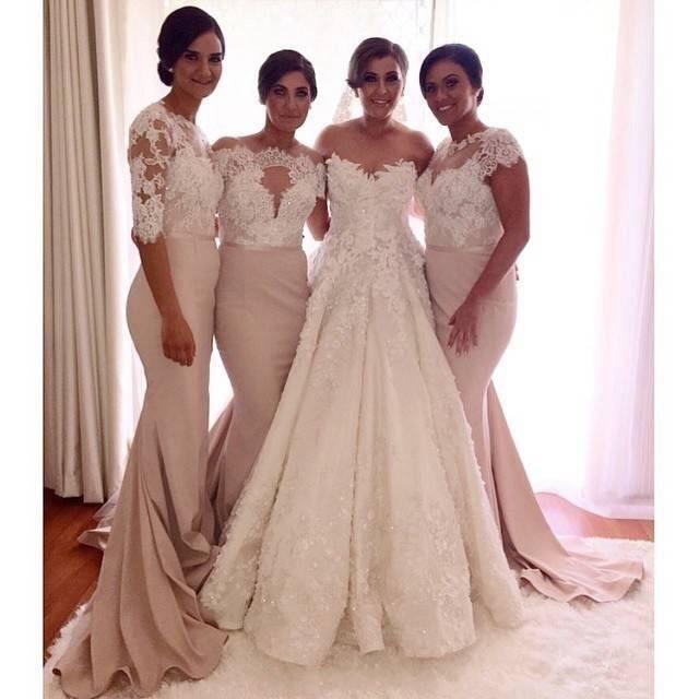 2018 Newest Design Elegant Mermaid Lace Top Bridesmaid Dresses Two ... 08b22bbb862f