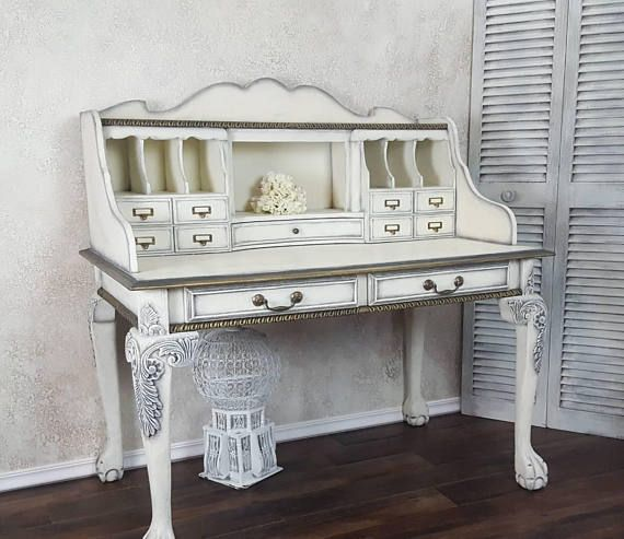 White Gold Painted Desk Painted Furniture Affiliate Home Decor Furniture Furniture Stripping Furniture