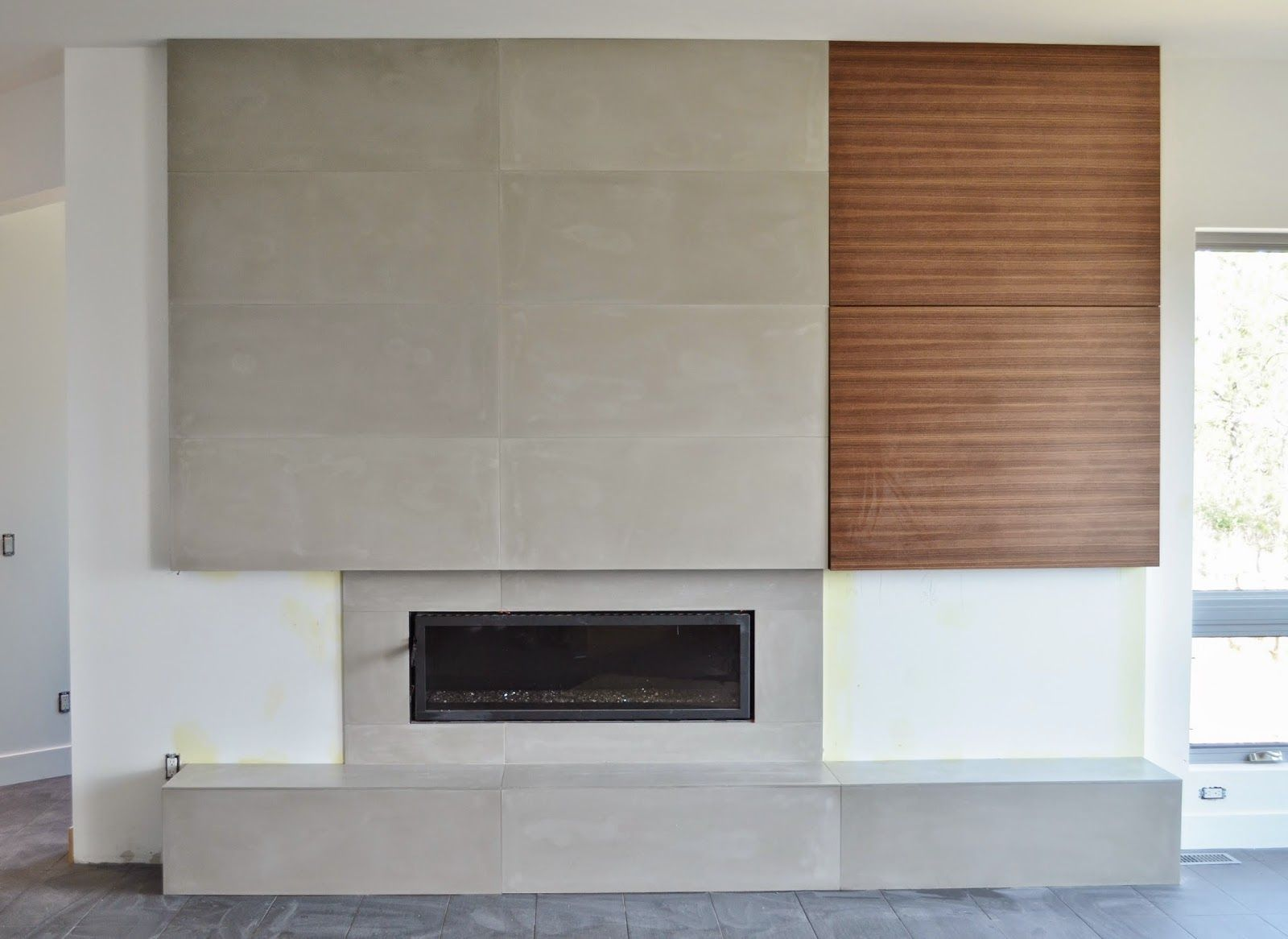 Mode Concrete Contemporary Concrete Fireplace With Flush