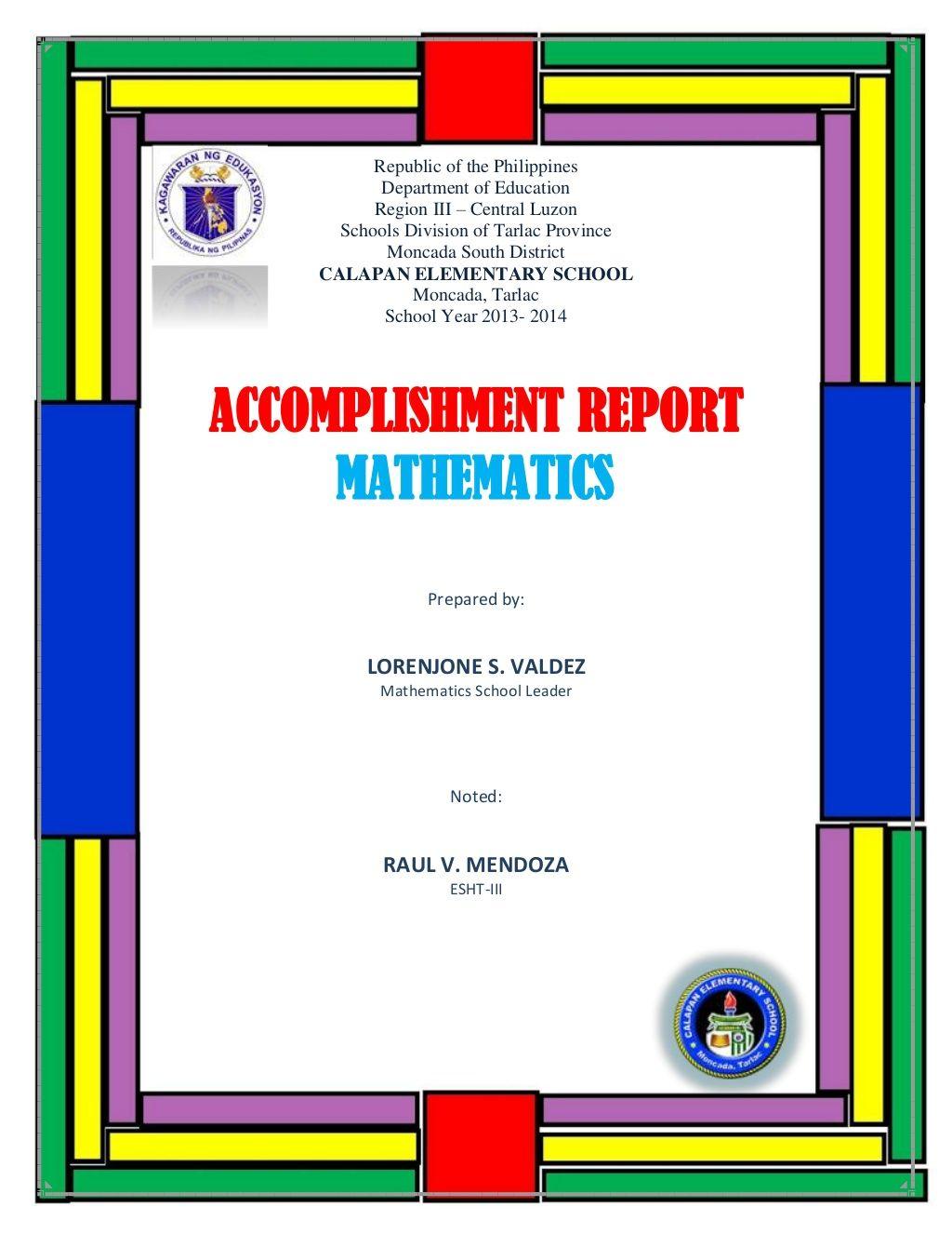 Accomplishment Report Math By Reon Zedval Via Slideshare School