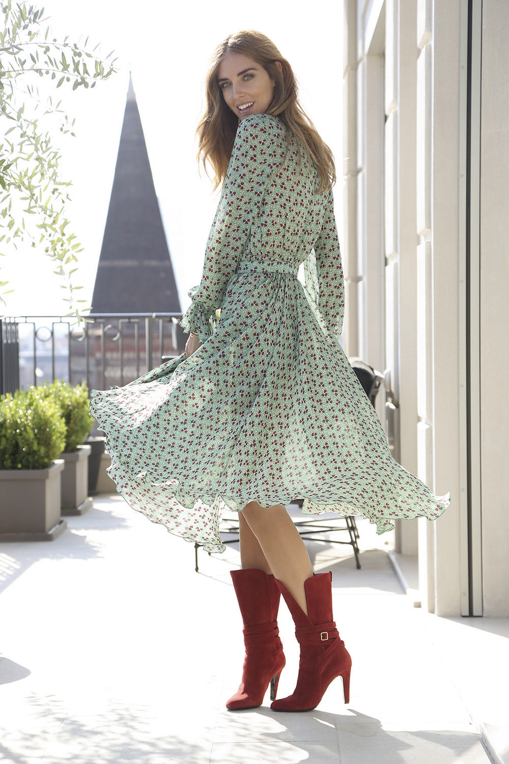 Twirl!   Street Style   Flawless in Flowing Patterned Dress & Red Suede Boots   Chiara Ferragni  by Nello Esposito for Philosophy Fall 2015     { Couture /// Runway Every Day 2 #twirl