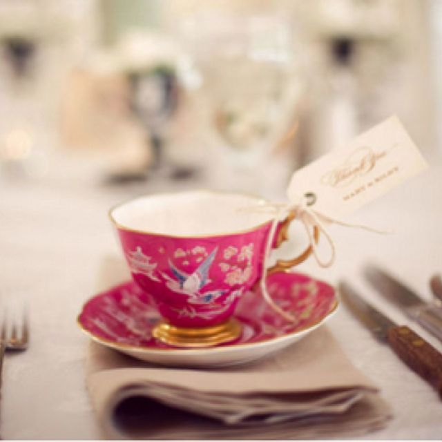 For a classic party favor that's sure to be snatched up by every guest give em a teacup!! You can even place little macaroons in baggies or a tea bag on the inside of the tea cup.